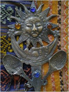 """Awesome Rare PERUVIAN Early 20th-century SUN MOON TUPO Tupu with Dangling Milagro Charms ~ 94 Grams ~ 10"""" Long ~ Museum Quality! Ethnic Jewelry, Jewellery, Sun Moon, Peru, Folk Art, Dangles, Charms, Museum, Awesome"""