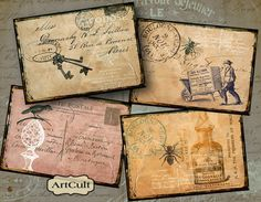 DISTRESSED PAPER BACKGROUNDS - Digital Collage Sheet 2.5x3.5 inch images Vintage Printable Download Scrapbooking. $4.90, via Etsy.