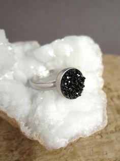 Black Druzy Ring Titanium Druzy Quartz Rhodium Plated Sterling Adjustable Band
