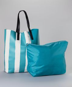 Look what I found on #zulily! Turquoise & White Stripe Tote by Hadari #zulilyfinds