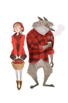 Red Riding Hood and Mr. Wolf 6x4 postcard print by taryndraws