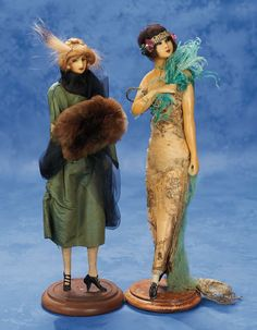 Two French Wax Fashionable Dolls from the Studios of Lafitte-Desirat 1914