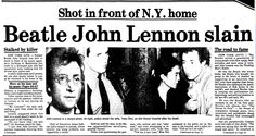 """An article about the shooting of ex-Beatle John Lennon, published in the Boston Herald newspaper (Boston, Massachusetts), 9 December 1980. Read more on the GenealogyBank blog: """"34th Anniversary of Ex-Beatle John Lennon's Death."""" http://blog.genealogybank.com/34th-anniversary-of-ex-beatle-john-lennons-death.html"""