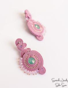 Pink soutache earrings with Swarovski rivoli, Toho and Preciosa beads