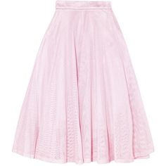 Maje Metallic pleated cotton-mesh midi skirt ($175) ❤ liked on Polyvore featuring skirts, baby pink, pleated skirt, mid calf skirts, pastel pink skirt, cotton skirts and knee length pleated skirt