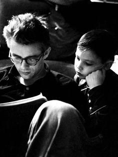 James  reading with his cousin Marcus Winslow by Dennis Stock ,Fairmount ,Indiana 1955