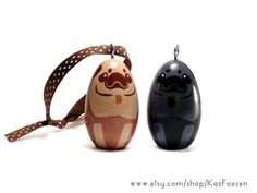 Custom Pug Dog Figurine or Seasonal Ornament by KazFoxsen on Etsy. This pet portrait makes a perfect gift for that special dog lover! #pug #blackpug #dogart  #ornaments #xmas #christmas #dogornament #dogfigurine