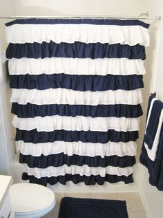navy blue and yellow shower curtain. diy ruffle shower curtain this is SO stinkin cute  This I am not a huge fan of yellow and navy but new bathroom has