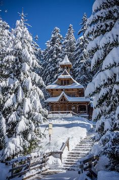 Buildings Zakopane winter, Poland
