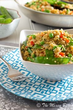 Veggie Loaded Fried Quinoa: Hearty, healthy quinoa gets pan fried and loaded with fresh veggies for a healthy stirfry.