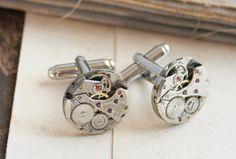 Cufflinks, Steampunk cuff links,clock work mechanical cufflinks, watch movement groomsmen Cufflinks, Father of the bride