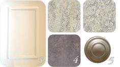 Bathroom finishes | 1. Powder Room Laminate Counters, 2. Ensuite Laminate Counters, 3. Bathroom Cabinets, 4. Tile (12×12), 5. Cabinet Hardware | Our New Townhouse Blog Laminate Counter, Cabinet Styles, Shades Of White, Bathroom Cabinets, Cabinet Hardware, White Paints, Powder Room, Townhouse, Tile