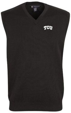 3b7637be63e Oxford NCAA TCU Horned Frogs Men s Bristol Sweater Vest Size L Black NEW