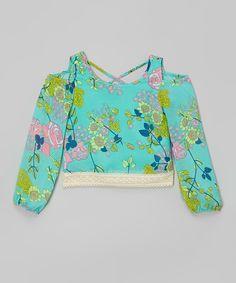Look at this #zulilyfind! Mint Floral Cutout Top - Girls by Maya Fashion #zulilyfinds