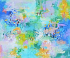 Original abstract art  Blue green abstract Aqua abstract Turquoise Bright abstract Expressionist Water lily pond 20 X 24 art Garima Parakh