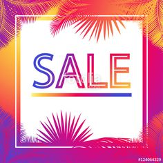 """Download the royalty-free photo """"Sale discount banner for marketing with palm tree leaves frame. Multi color Vector illustration. Sale discount - banner. Exotic palm leaves border. Advertising design. Black Friday Sale, Cyber Monday."""" created by sofiartmedia at the lowest price on Fotolia.com. Browse our cheap image bank online to find the perfect stock photo for your marketing projects!"""