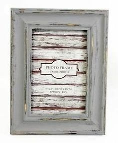 Distressed grey photo picture frame shabby chic 6.x 4