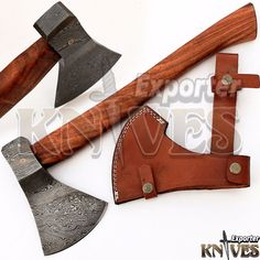 Andy Alm New Custom Hand Forged USA Damascus Bearded Axe Wooden Handle S202 #KnivesExporter
