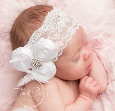 White baby Headband, Baptism Headband, Christening Headband, Newborn Headband, Girls Headband, Flower Girl Headbands, Girls Headband. by ThinkPinkBows on Etsy https://www.etsy.com/listing/205788368/white-baby-headband-baptism-headband