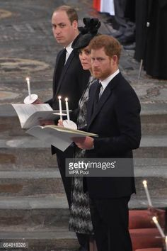 Prince William Duke of Cambridge Catherine Duchess of Cambridge and Prince Harry attend the Service of Hope at Westminster Abbey on April 52017 in...