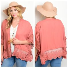 """PLUS size mauve cardigan This fun and playful woven kimono style top features an open front design with crochet lace scallop hem panel detailing. 50% COTTON 50% POLYESTER. Sizes are XL/1XL & 2XL/3XL. I'm 5'5"""" and wearing the XL/1X. Sweaters Cardigans"""