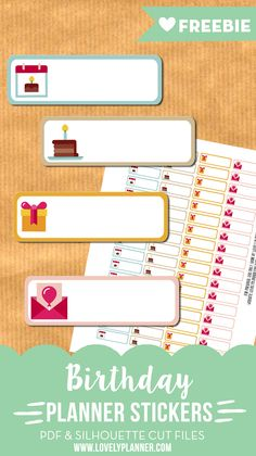Free printable and cut file: birthday planner stickers to mark down birthdays in your planner. Find more planner free printables on lovelyplanner.com