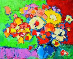Abstract Flower Paintings | Abstract Colorful Flowers Painting - Abstract Colorful Flowers Fine ...