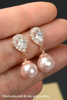 Blush Pink EaringsPink Bridesmaid by thefabbridaljewelry on Etsy