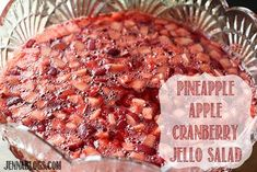 I make this every year and lost the recipe. Happy to find it at Jenna's Journey: Pineapple, Apple, Cranberry Jello Salad