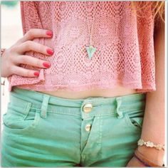 Bubble gum pink lace top with mint shorts
