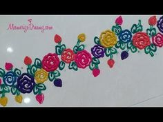 Easy Rose Border rangoli designs with colours Rangoli Borders, Rangoli Border Designs, Colorful Rangoli Designs, Kolam Designs, Easy Rose, Simple Rose, Silk Painting, Painting Steps, Corner Rangoli