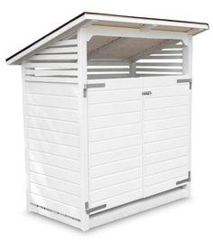 Valkoinen pulpettikattoinen City-roskakatos sopii talon kuin talon pihaan. Toimitetaan valmiiksi koottuna ja maalattuna. Kahdelle 240 l:n astialle. Tutustu!