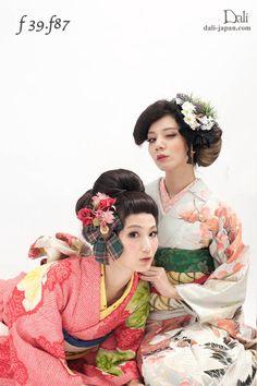 100 807: Aoyama haze updo hair ornament kimono ceremonies situation antique kimono