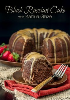 This Black Russian Cake recipe starts with a boxed yellow cake mix and has vodka and Kahlua added. It's always the star of the party!