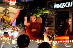 Buddhist gives his blessing at Wesak Day Parade (Vesak Day).