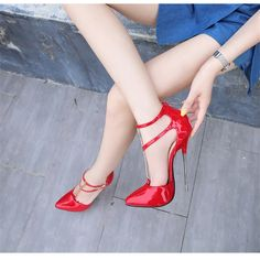 Crossdresser shoes zapatos mujer 16cm thin heels Sandals women wedding Pumps Bridal Buckle Patent Leather Stiletto Drop shipping _ - AliExpress Mobile Stilettos, Women's Pumps, Extreme High Heels, Sexy High Heels, Wedding Pumps, Pump Types, Toe Shape, Crossdressers, New Shoes