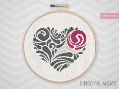 ROSE HEART SWIRL counted cross stitch pattern, abstract love flower, wedding silhouette valni swirls, diy valentine home decor xstitch, pdf