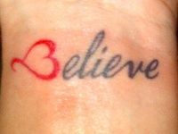 19 Meaningful Wrist Tattoos With Words – Wrist Designs Believe Wrist Tattoo, Love Wrist Tattoo, Believe Tattoos, Classy Tattoos, Cute Tattoos, Small Tattoos, Tatoos, Meaningful Word Tattoos, One Word Tattoos
