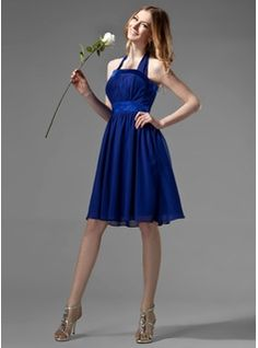 Empire Halter Knee-Length Chiffon Charmeuse Bridesmaid Dress With Ruffle Bow(s) (007000869) - JJsHouse - sage or lilac