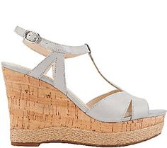 05796bbc1f7 Franco Sarto Leather T-strap Wedges Leather Wedge Sandals