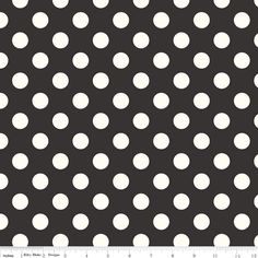 Cotton Fabric in Black and Cream Polka Dot, Riley Blake Designs