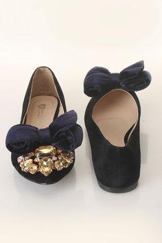 Dima Ballerina Flats In Black And Navy
