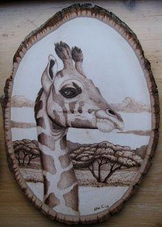 Giraffe pyrography by Corby
