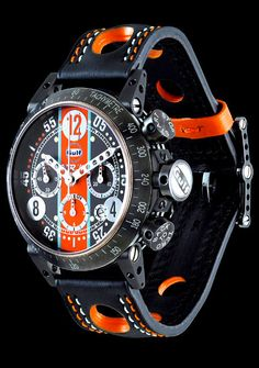 B.R.M Limited Edition Gulf Racing V-8 Chronograph http://www.racewatches.com/Racewatches-BRM-GulfRacing-V12.html