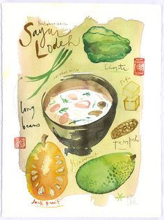 Coconut milk soup Indonesian recipe original watercolor painting, Food artwork, Kitchen art, Beige, green