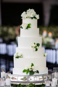 tall five layer wedding cake ribbed design fresh flowers and greenery silver display stand 5 Tier Wedding Cakes, Summer Wedding Cakes, Wedding Cake Designs, Simple Weddings, Real Weddings, Tent Reception, Beautiful Wedding Cakes, Green Wedding, Wedding Trends
