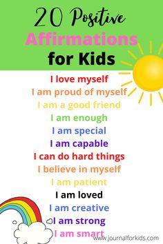 Positive Affirmations For Kids, Positive Self Talk, Positive Affirmations Quotes, Self Love Affirmations, Morning Affirmations, Affirmation Quotes, Positive Quotes, Positive Words Of Affirmation, Postive Words