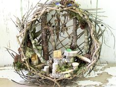 Custom Fairy House Art Woodland Basket Nature door BetweenTheWeeds