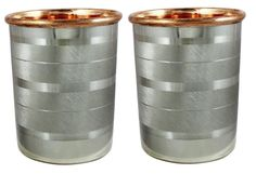 Drink ware Accessories Pure Copper & Stainless Steel Glass / Cup 9 Oz Set Of 2 #Buddha4all
