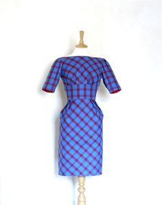 Blue and Red Checked Wiggle Dress
